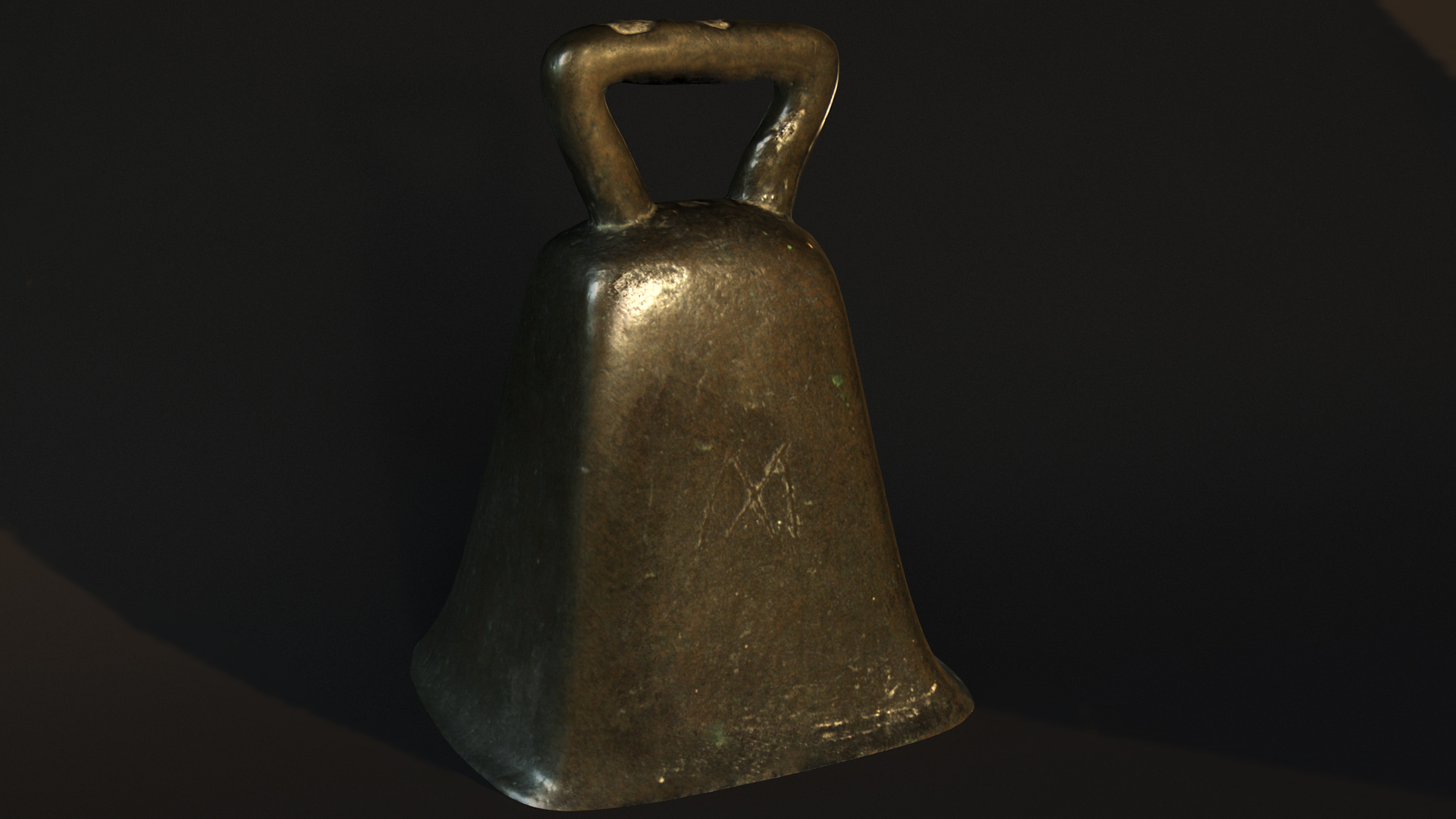 Textured model of the Forteviot bell complete with CGI lighitng.